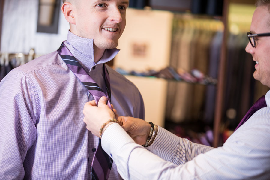 Tailored and Custom - putting on a tie
